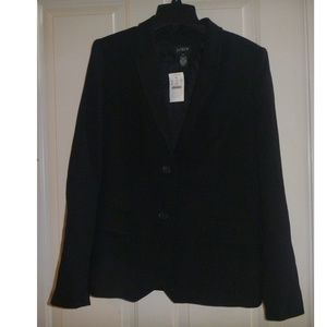 Womens J Crew Black Wool Jacket Blazer Sz 14 NWT